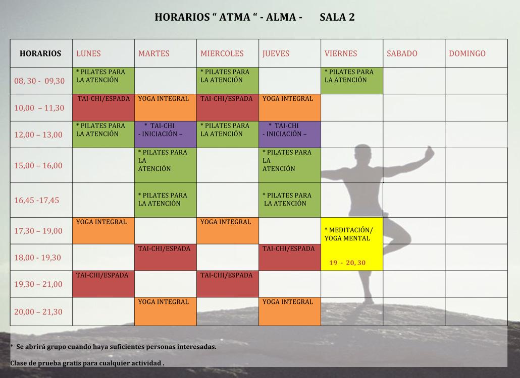 Horarios Sala 2